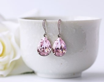 Light Pink Rosaline Swarovski Crystal Earrings Wedding Dangle Cubic Zirconia Pear Shape