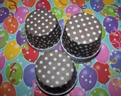 Treat/Portion Cups, Chocolate Brown/White Polka Dots, Party Cups, Cupcake Baking 12 Polka Dots Treat Cups