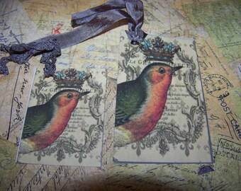 Gift Tag, Gift Tags, Bird With Crown, Paris Sript Tags, Tags, Embellishment, Set Of 10 With Seam Binding Hangers
