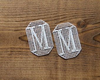 Pair of M embroidered monogram - vintage cotton embroidered initial supplies for hand crafter decorator weddings