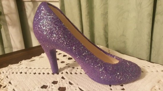 purple glitter ceramic high heel shoe by pollysceramics on