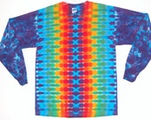 Rainbow Tie Dye Shirt Rainbow DNA Psychedelic Tye Dye Long Sleeve Adult T Shirt small medium large XL Grateful Dead hippie art L/S