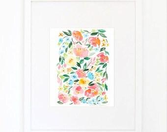 Watercolor Persimmon Flower Rose Peony Botanical Print