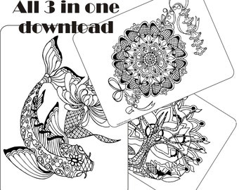 All 3 in One Adult coloring page
