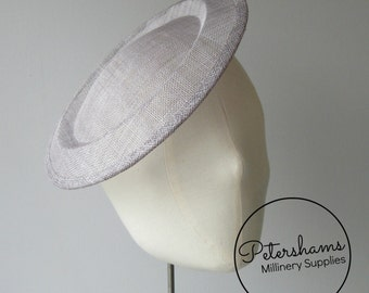 Large Round Saucer Sinamay Fascinator Hat Base for Millinery - Pewter Grey