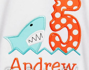Shark Birthday Shirt, Birthday Embroidered Shirt, Shark Birthday Shirt, Shark Bite Birthday, Summer Birthday, Boys Birthday, Shark Shirt