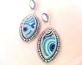 Light Blue Silver and Crystal Sparkle Earrings, beaded blue Handmade Polymer Clay earrings, Embroidery earrings