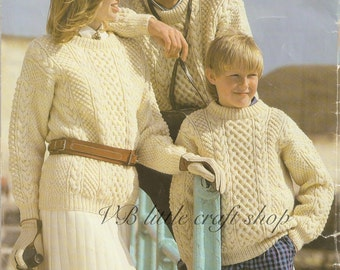 Family aran sweater knitting pattern. Instant PDF download!