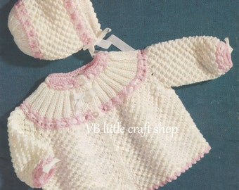 Matinee coat and bonnet knitting pattern. Instant PDF download!