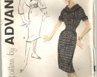 Vintage 50s Dress Pattern s xs size 10 30 bust Double Breasted Shawl Collar Pat Boone