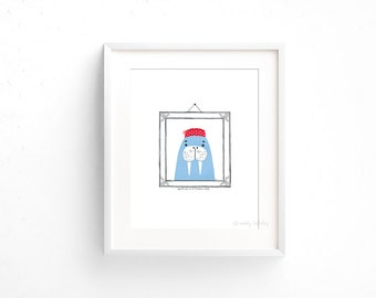Walrus in a Pillbox Hat (100 Animals in Hats Series) - Giclee print of original collage illustration - 8 x 10in