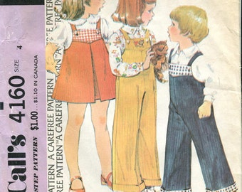 McCalls 4160 - Vintage Toddler's Jumper and Overalls Pattern UNCUT Size 4