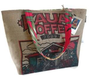 Large Burlap Tote. Repurposed Kauai Coffee Bag. Handmade in Hawaii.