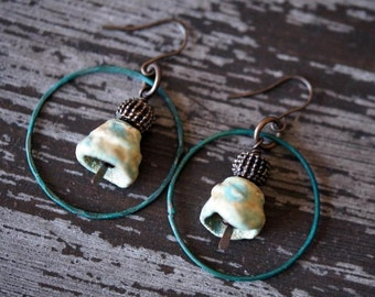 Unlisted - Turquoise Hoops - Patina Hoops - Ceramic Pod Earrings - Turquoise Boho - Hoop Dangles - Bead Soup Jewelry