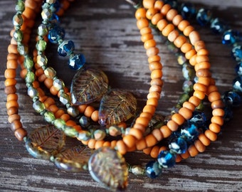 Rustic Bracelet - Multi Strand Bracelet - Bohemian - Boho Bracelet - Rustic Orange - Bead Soup Jewelry