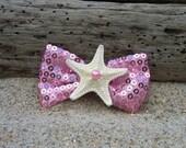 Starfish Pink Sequin Ribbon Bow Hair Clip,Mermaid Birthday Party, Beach Weddings,Girl Hair Clip, Summer Vacation, Starfish Hair Clip,Ocean