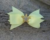 Starfish Yellow Grosgrain Ribbon Bow Hair Clip,Mermaids, Beach Weddings,Girl Hair Clip, Summer Vacation, Starfish