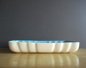 Aqua and Cream Planter - Vintage Pottery - Cream and Teal or Turquoise Console Bowl with White Exterior
