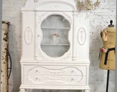 Painted Cottage Chic Shabby White Romantic French China Cabinet CC683
