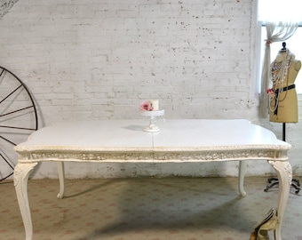 Dining Table Painted Cottage Chic Shabby White French Dining Table TBL194