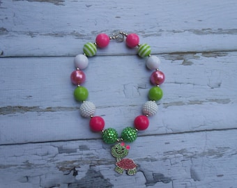 Turtle Chunky Bead Necklace, Chunky Necklace, Bubblegum Necklace, Hot Pink & Lime Green Color Necklace, Rhinestone Necklace