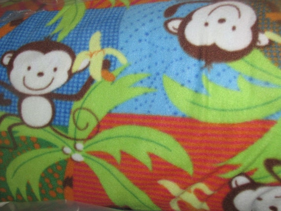 Items similar to polar fleece monkey palm jungle print for Nursery monkey fabric