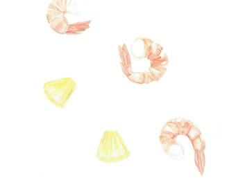 minimalist watercolor print: Pineapple Shrimp
