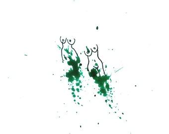 minimalist watercolor drawing print: Sirens I