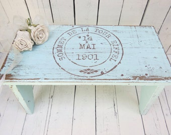 Old Stool, Milking Stool, Farmhouse Stool, Vintage Stool, AquaWooden Stool, Paris Flea Market, French Country, Rustic Stool, Shabby and Chic