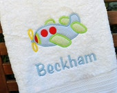 Monogrammed Kids Bath Towel with Airplane Applique -  perfect for the beach, bath or pool