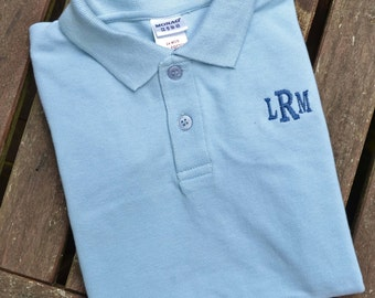 Monogrammed Polo for Boys - Sky Blue