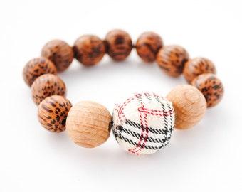 Wooden Bead Stretch Bracelet - Plaid Accent Bead - Beaded Bracelet, Wood Bracelet - Minimalist, Essential Oil Bracelet, Aromatherapy jewelry