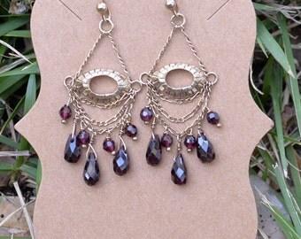 Garnet Chandelier Earrings 14 kt vermeil