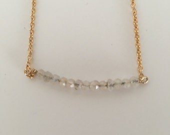 Gold filled Rose Quartz Line Necklace