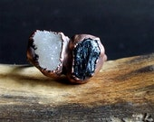 Raw Tourmaline Crystal Ring Rough Stone Jewelry Druzy Dual Stone Ring Copper Size 7 Midwest Alchemy
