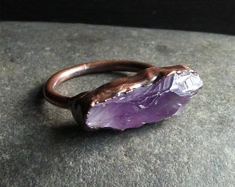 Rough Amethyst Ring Copper Gemstone Ring Size 9.5 February Birthstone Ring Raw Copper Ring Rough Stone Jewelry
