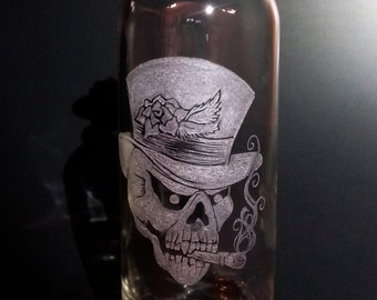 Smoking Skull in a Rose Top Hat