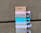 Set of six elastic hair ties, ready to ship
