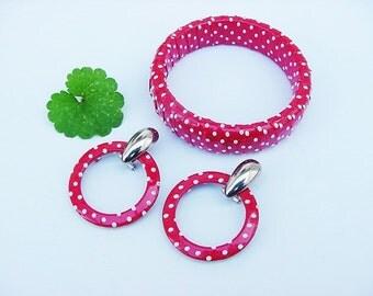 BG256 Vintage ASTOR Signed Red White Polka Dot Earrings Bangle Bracelet Set 1980s