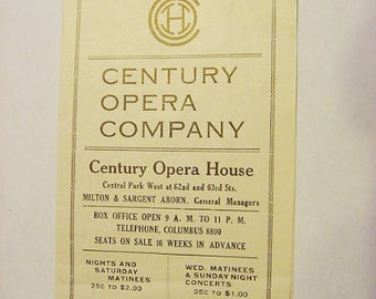 Century Opera House 1920s Program November through February Play Stage Theater