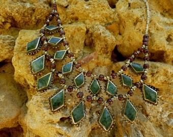 Pretty  Kuchi Tribal Necklace. Layers. Diamond shaped. Hand made. Collier