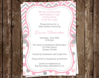 Baby Shower Invitations, Girls, Chevron, Stripes, Polka Dots, Pink, Gray, Grey, It's a Girl, Sprinkle, 10 Printed Invites, FREE Shipping