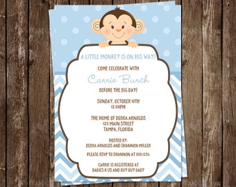 Little Monkey, Baby Shower, Invitations, Sprinkle, Birthday, Blue, Boys, Aqua, Chevron Stripes, 10 Printed Invites, FREE Shipping, MKBBL