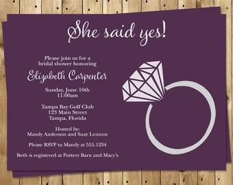 Diamond Ring, Bridal Shower, Invitations, Plum, Wedding, Bridal, Ring, 10 Printed Invites, Purple, FREE Shipping, SSYPL, She Said Yes