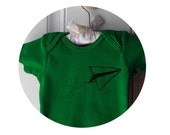 "Paper airplane baby Onepiece, ""Love Notes"", Kelly Green, Flying, Cotton Bodysuit"