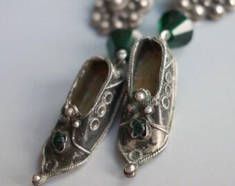 Turkish SIlver Filgree Shoe Earrings