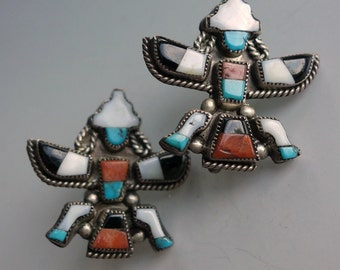 Zuni Inlaid Knifewing Earrings Turquoise Sterling