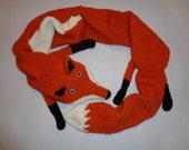 Reddish orange scarf - Fox scarf - Animal scarf - Fox shawl - Red neck warmer - Animal woolen scarves - Winter red scarf - Merino wool scarf