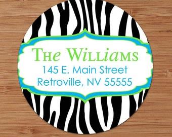 Fresh Zebra Print- CUSTOM Address Labels or Stickers