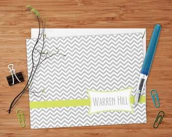 Retro Chevron -  Set of 8 CUSTOM Personalized Flat Note Cards/ Stationery